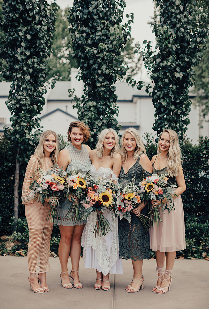 Tilly Clifford Bridesmaids With Sunflowers
