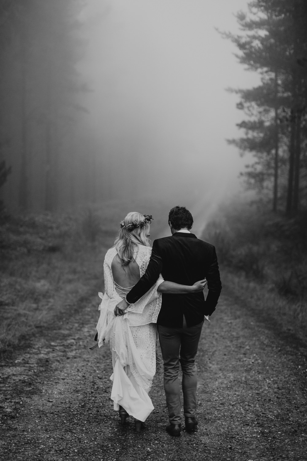 Tilly Clifford Couple In Woods Portrait BW