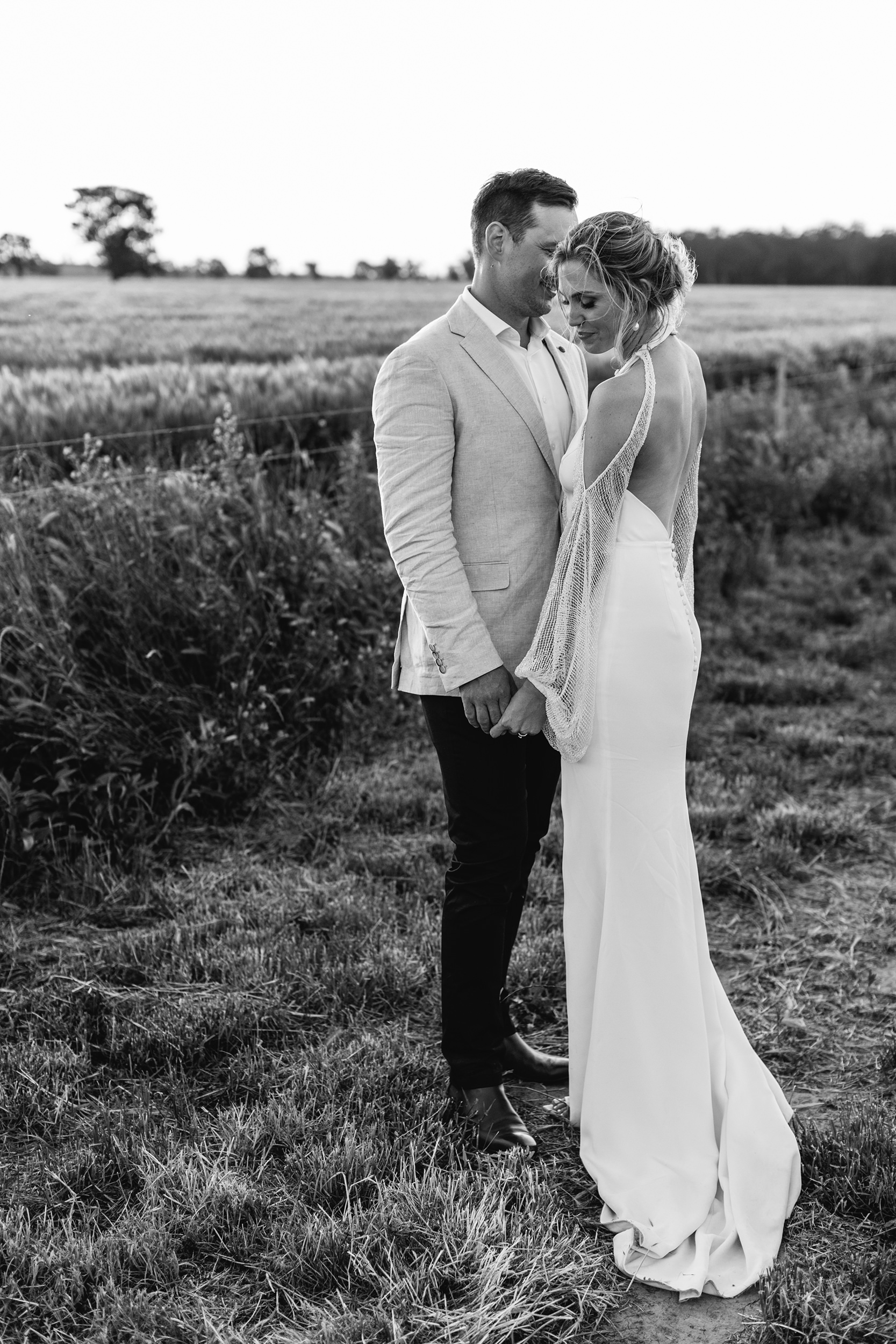 Tilly Clifford Couple Field Sunset Black and White Wedding